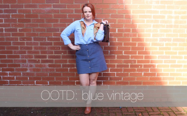 ASOS Aline skirt blue denim vintage style-001 cover