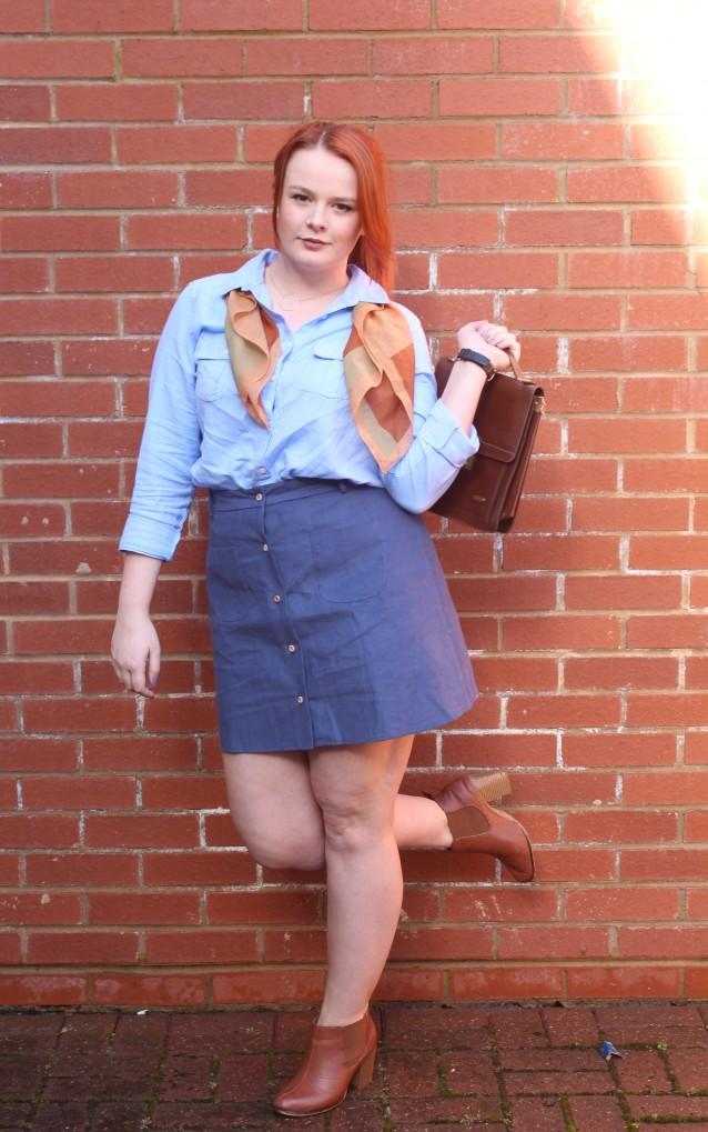 ASOS Aline skirt blue denim vintage style-002