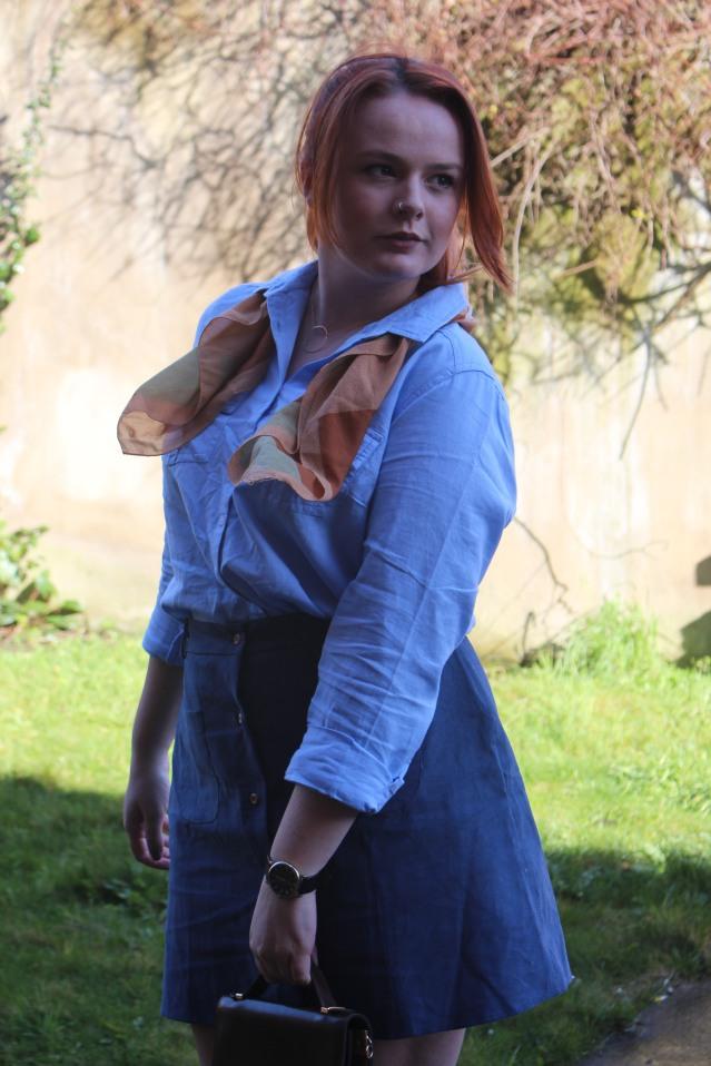 ASOS Aline skirt blue denim vintage style-005