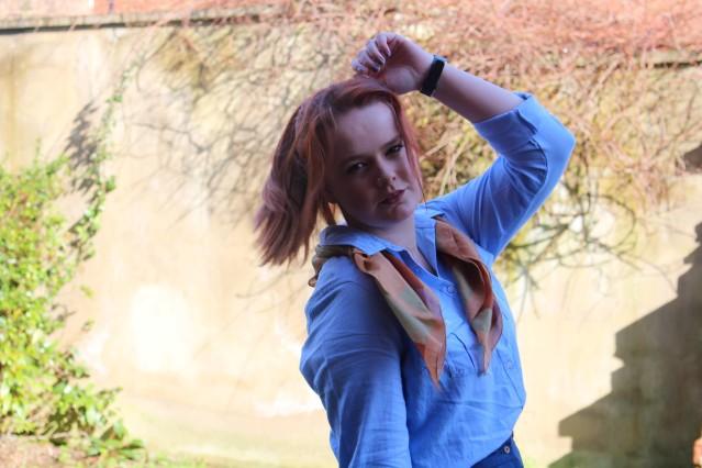 ASOS Aline skirt blue denim vintage style-006