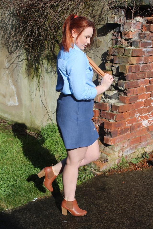 ASOS Aline skirt blue denim vintage style-007
