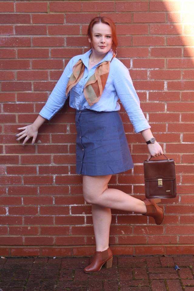 ASOS Aline skirt blue denim vintage style