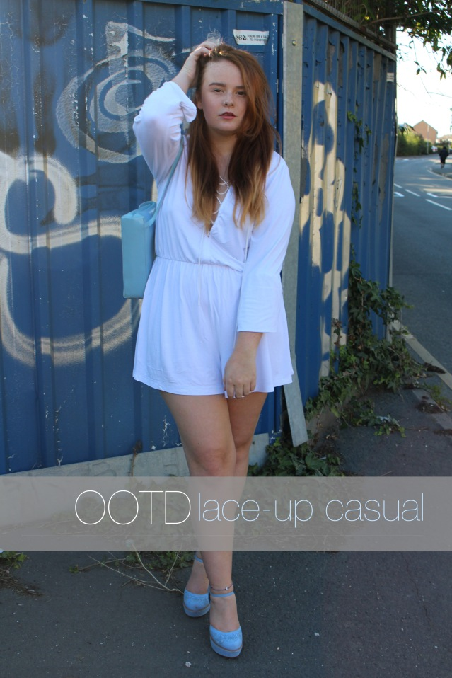ASOS laceup playsuit casual white OOTD-006 cover