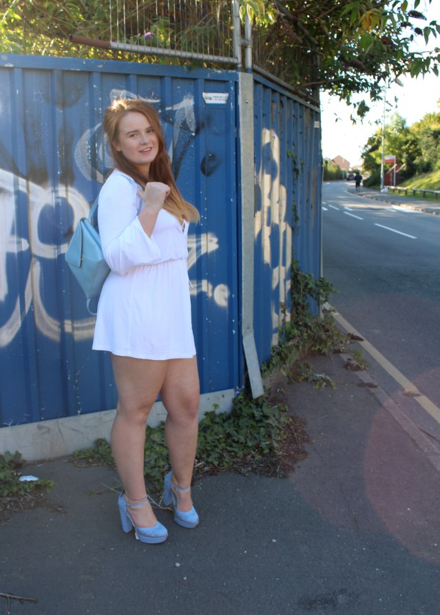 ASOS laceup playsuit casual white OOTD-007