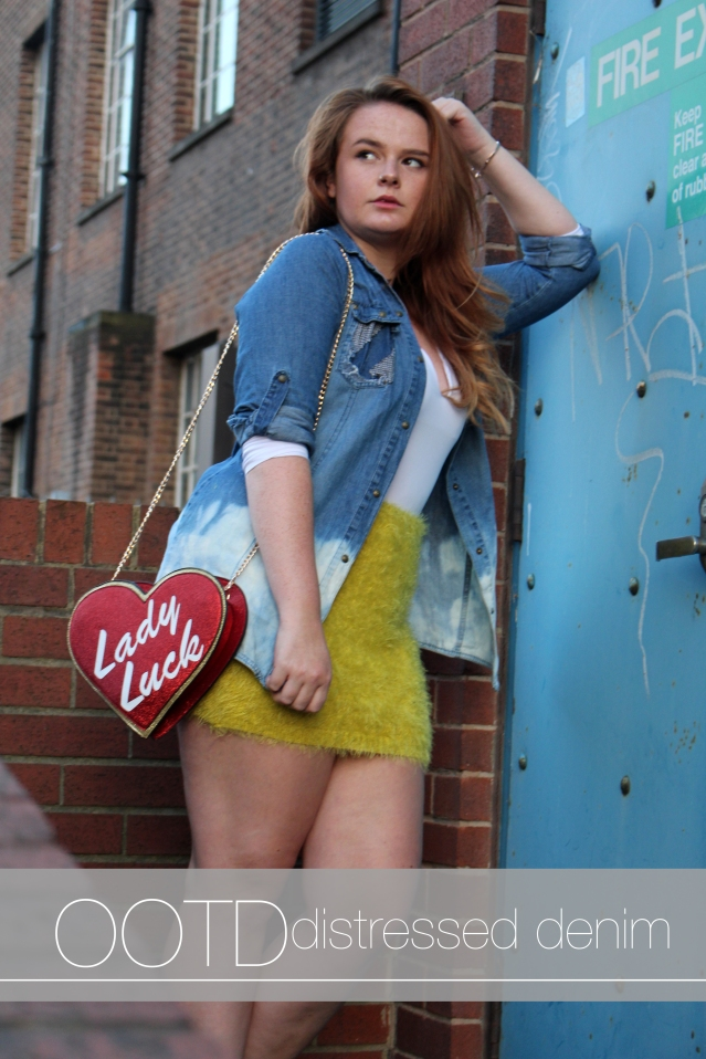 Distressed Denim and ASOS Lady Luck Bag Felicity Hayward cover